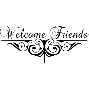 picture of Welcome Friends with Scrollwork Vinyl Art Quote