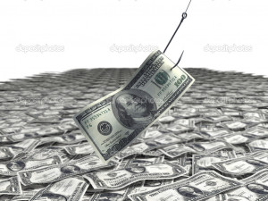 Dollar bill on a fishing hook - Stock Image