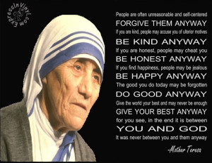Mother Teresa Wall Quote | Do It Anyways