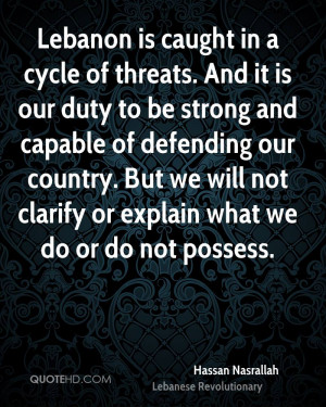 Lebanon is caught in a cycle of threats. And it is our duty to be ...