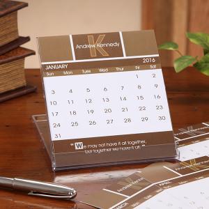 7639 - Inspirational Quotes Monogram Desk Calendar - Open Calendar