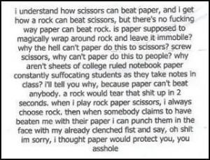 In rock paper scissors, how does paper beat rock?