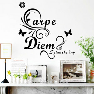 2014 New arrival fashion Carpe Diem butterfly wall quote decals and ...