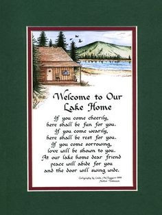 Lake Home Welcome Saying Home Decor Wall Sign by Calligraphy Company ...
