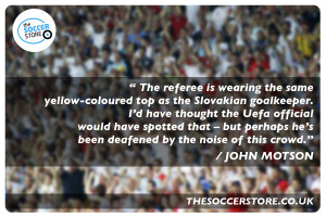 The referee is wearing the same yellow-coloured top as the Slovakian ...