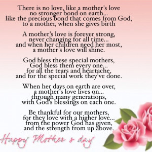 "Happy Mother's Day! ""There is NO Love like a Mother's Love"""