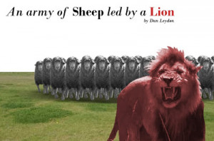 An army of Sheep led by a Lion