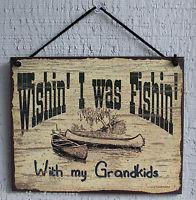 new wish fishing grandkids grandpa fish quote saying wood sign wall ...
