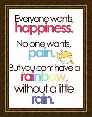 happiness pain quotations rain rainbow text pastels quote
