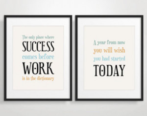 ... Posters, Inspirational Quote Art, Motivational Print - Set of 2