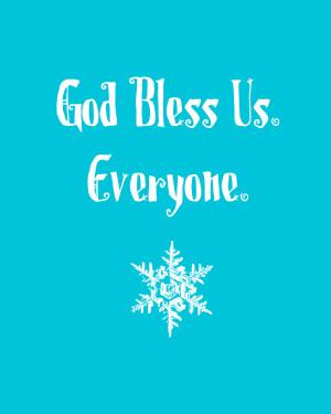 god bless us printable in blue