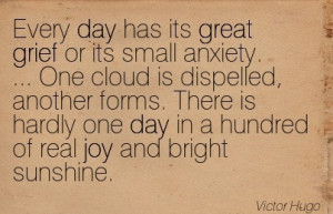 Every Day Has Its Great Grief Or Its Small Anxiety… - Victor Hugo