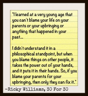 Ricky was asked about an incident in his childhood and if he blamed ...