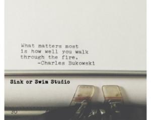 Charles Bukowski Quote 8x8 inch Linen Textured Vintage Typewriter ...