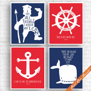 Moby Dick Quotes - Set of 4 Art Print (Unframed) (Featured in Navy and ...