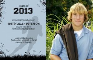 Football high school graduation announcement by PurpleTrail.com.