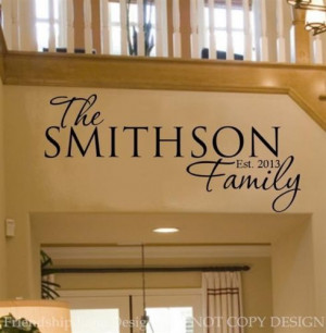 Personalized FAMILY Name & Date VINYL wall decal/words/custom/quote ...