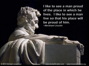 that his place will be proud of him abraham lincoln by michael ...
