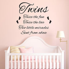 Twins Wall Sticker Bedroom Nursery Child Decal Quote Vinyl Transfer ...