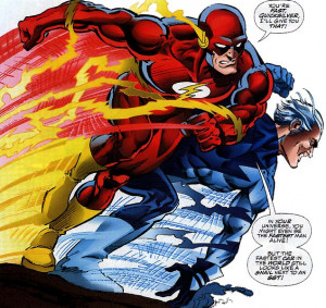 Flash racing Quicksilver in Marvel vs. DC 2]