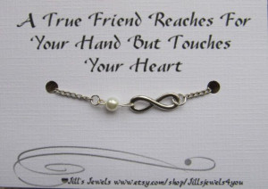 Frienship Infinity Charm Bracelet with Pearl and Quote Inspirational ...