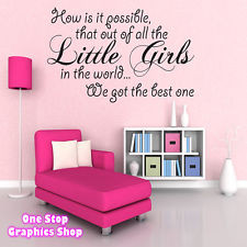 BEST LITTLE GIRL WALL ART QUOTE STICKER - BABY KIDS GIRL BEDROOM LOVE ...