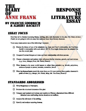 anne frank play essay prompts Expository essays/the diary of anne frank - book report term paper 4641 (the diary of anne frank - book report essay.