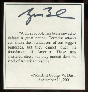 Another nice George W. Bush autographed 9/11 typescript $250