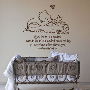 Bedroom, Winnie The Pooh Words Quotes For Nursery Wall Decals Design ...