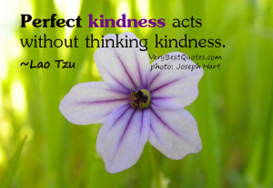 Perfect kindness acts without thinking kindness. ♥ ~Lao Tzu