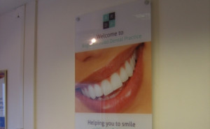 ... wall display on stand off locators for Augustus Road Dental Practice