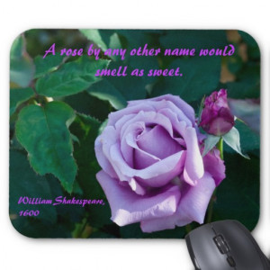 Mousemat with Mauve Rose & Shakespearean Quote #2