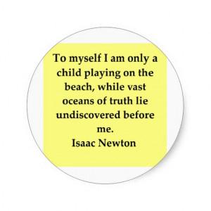 isaac newton quote round sticker