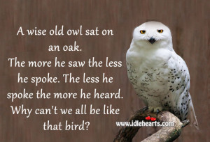 wise old owl sat on an oak. The more he saw the less he spoke. The ...