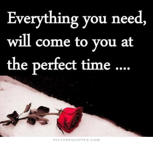 ... you need will come to you at the perfect time Picture Quote #1