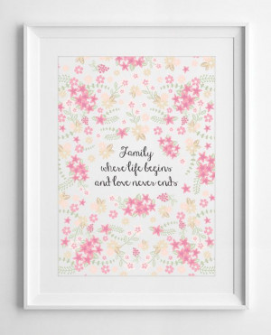 Printable family quote quotes flowers floral by PrintableWallStory, $5 ...