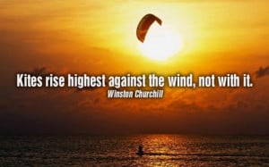 Kites rise highest against the wind picture quotes image sayings