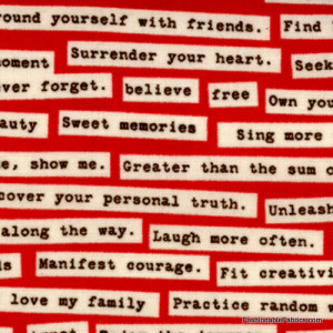 Odds and Ends Quotes on Red by Cosmo Cricket for Moda Fabrics 37044-12