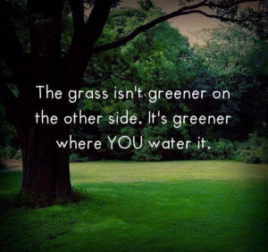 The grass isn't greener on the other side. It's greener where you ...