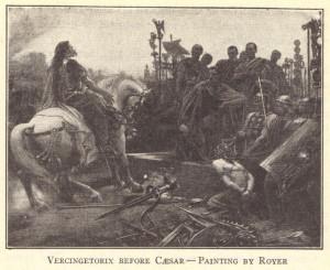 Vercingetorix (ca. 82-46 BCE) of Gaul (France) before Caesar. Painting ...