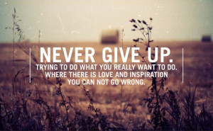 Never Give Up. Trying To Do What You Really Want To Do. Where There Is ...