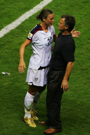 Abby Wambach and Greg Ryan Norway v USA Womens World Cup 2007 3rd