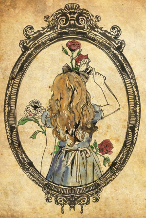 ... Painting Red Roses Mirror Through The Looking Glass Books Lewis Carrol