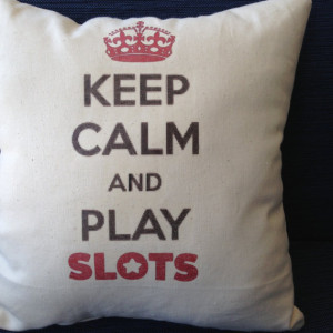 Slot machine players, 12x12 inch pillow, gambling, vegas, atlantic ...