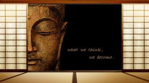 Text quotes zen buddha think wooden floor wallpaper