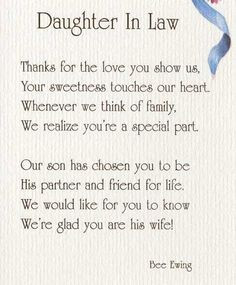 Daughter In Law Poems | DAUGHTER IN LAW - AP79 More