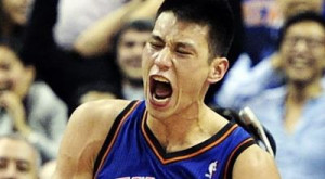 Jeremy Lin (right) and a pair of teammates pray prior to an NBA game ...