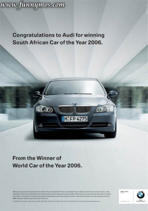 very funny ads campaign from BMW, Audi and Subaru. When 2 fight, the ...