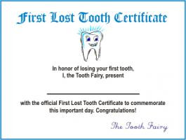 Tooth Fairy Certificate First