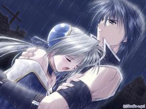 sad anime couple in the rain